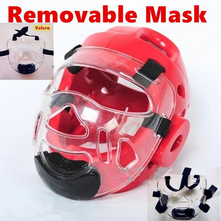 2016 new EVA taekwondo helmet with plastic mask Removable karate helmet headgear face mask protector environmental kids adult