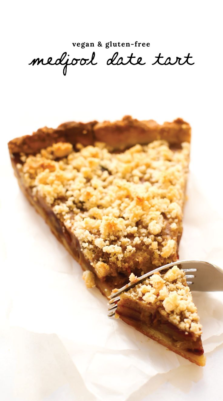 Almond & Medjool Date Tart   A healthier take on a date tart with a luxuriously creamy but refined sugar-free filling surrounded by a buttery rich but oil-free almond crust and crumble! Vegan, gluten-free, oil-free.