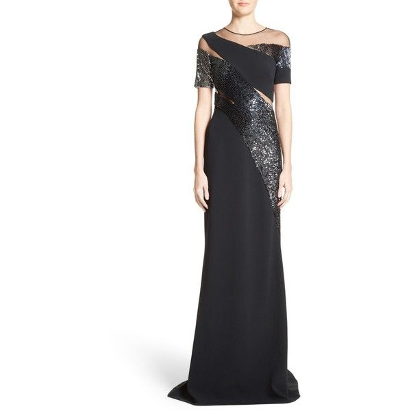 Women's Pamella Roland Sequined Silk Gown (5,860 CAD) ❤ liked on Polyvore featuring dresses, gowns, black, silk evening gowns, sequin gown, metallic evening gowns, sequin evening gowns and silk evening dresses