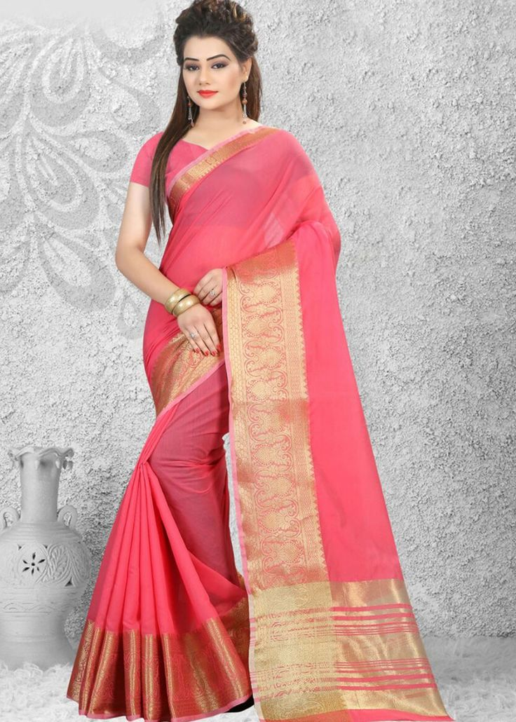 The beautiful #pink #cotton #saree, enhanced with woven work.