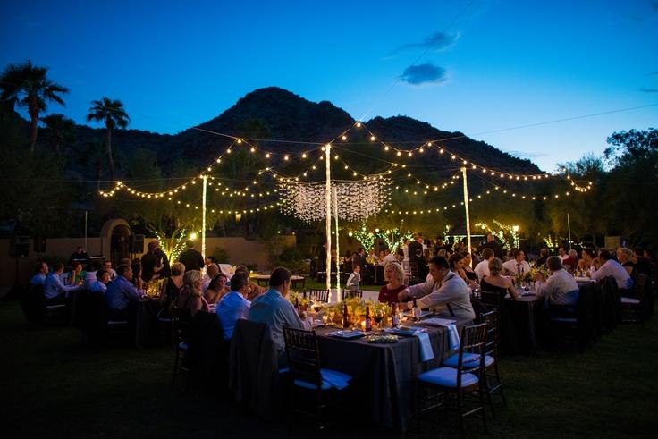 DIY wedding tent - paper cranes & globe lights