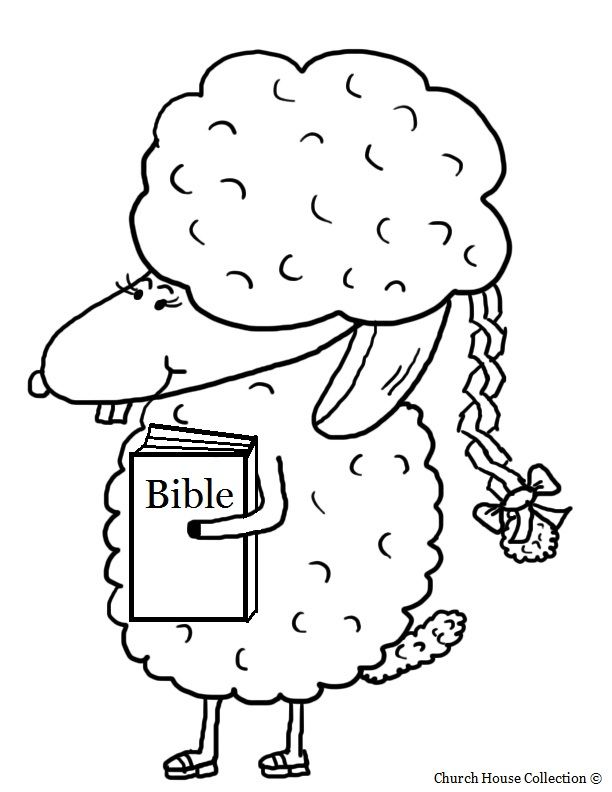 Easter Sheep With Braided Ponytail And Bible Coloring Page