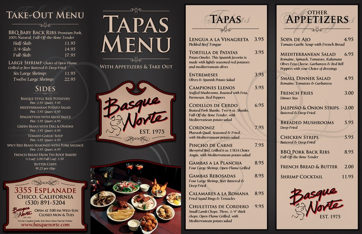 Basque norte tapas menu carta restaurante pinterest for Tapas menu template