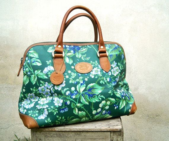 Vintage Laura Ashley Green Lilac Floral Print Coated Canvas Leather Bag - Wow! I think I have this print @ home!