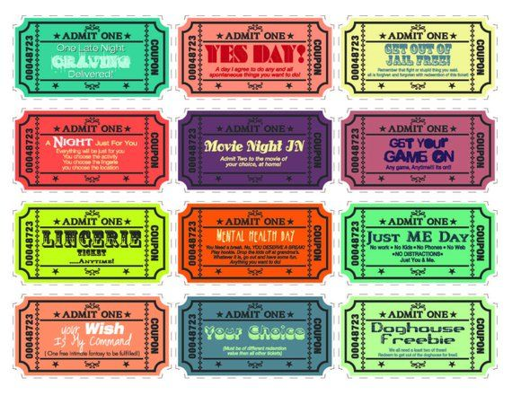 Printable Love coupons for wife/husband - boyfriend/girlfriend with