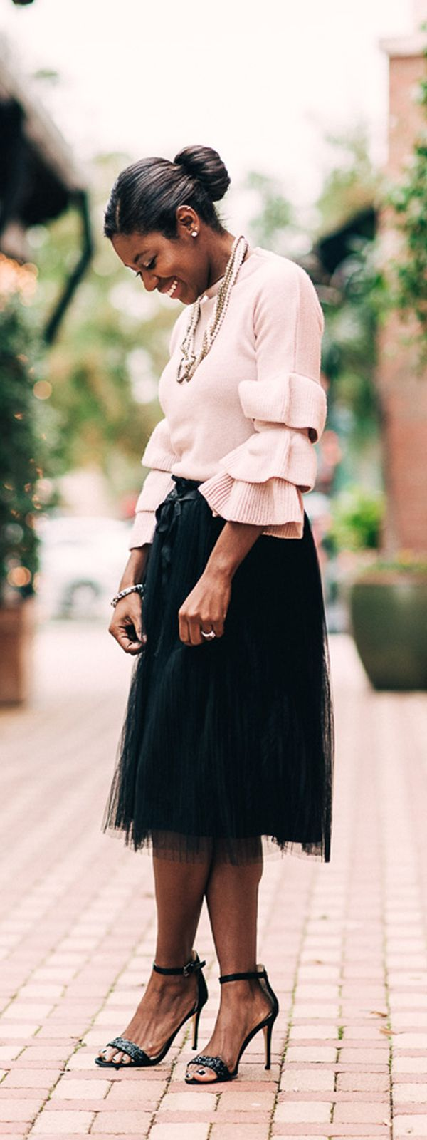 Image result for black girl in pink tulle skirt and yellow cardigan