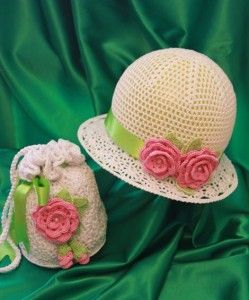 White Crochet Hat with Pink Rose and Matching Bag