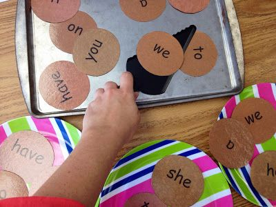 "Making Sight Word ""Cookies""...Put out cookie sheet and spatula. ""Cookies"" are sight words. Kids use spatula to put cookies on their plates (must read word to take their cookie). I'd give them a pot holder too, just for fun. Fun idea"