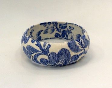 KAB Gallery | Vintage Blue Floral Decoupage Bangle $24 incl GST - Easy domestic & international postage options at checkout.  Designed and made by hand in Australia. See more and buy online.