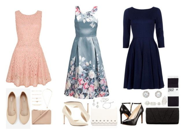"""""""3 Elegant Wedding Looks for the Pear Body Shape - Request!"""" by ladylikecharm on Polyvore featuring Forever 21, Express, Yumi, Nine West, Jessica McClintock and Charlotte Russe"""