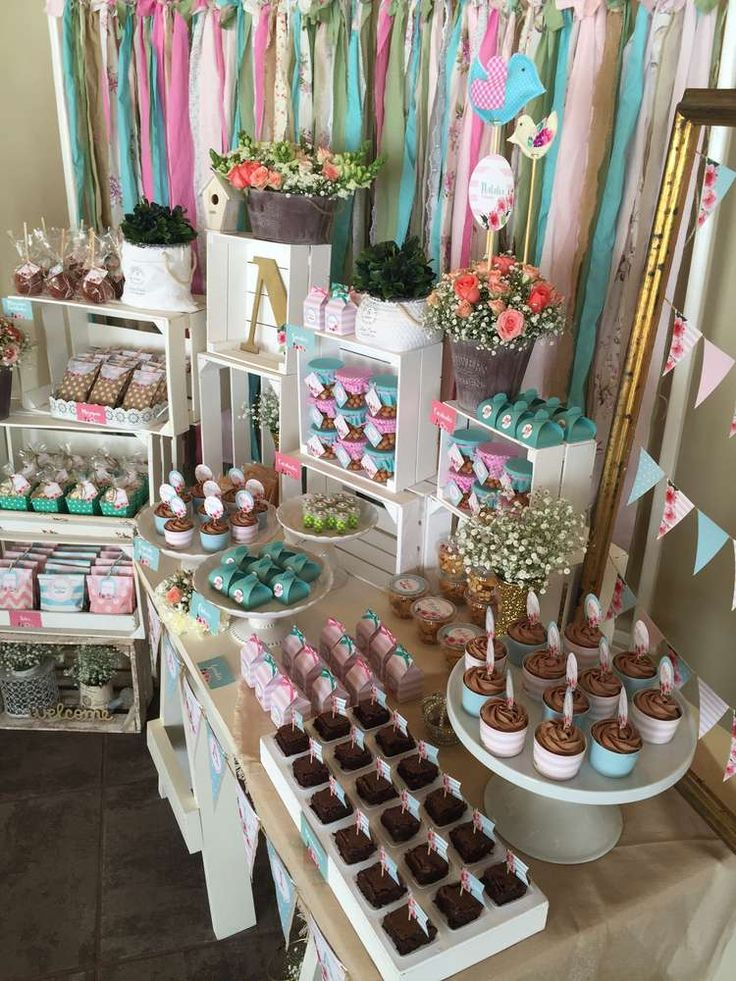 Aqua, Pink And flowers  Baptism Party Ideas | Photo 2 of 20