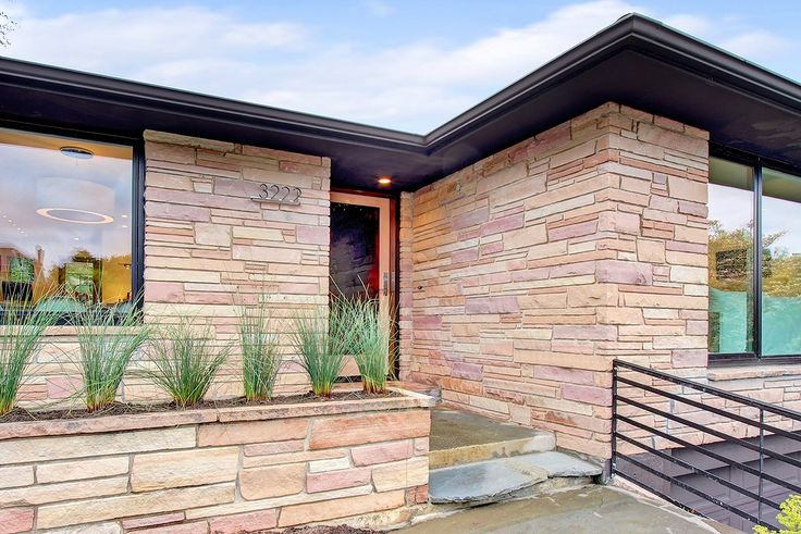 Grass in flagstone planter mid century architecture and for Mid century modern exterior