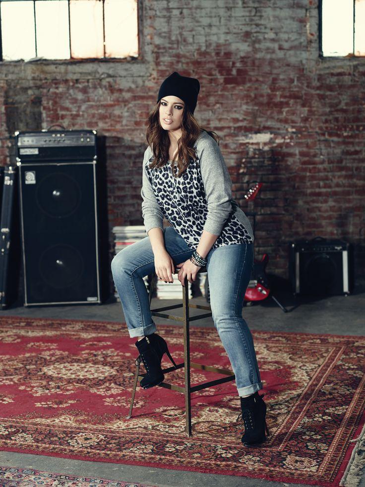 Addition Elle plus size animal print sweatshirt and William Rast skinny jeans.