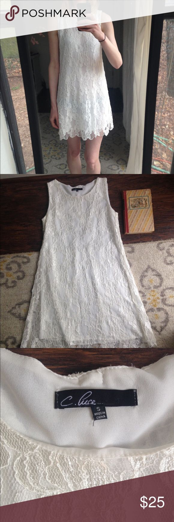 White Lacy C. Luce Party Shift Dress This sweet, lace, C. Luce dress is a show stopper! It's fully lined and features a zipper on its back. Goes great with heels and a long necklace! Great condition other than a loose thread, as pictured. Size small C. Luce Dresses Mini