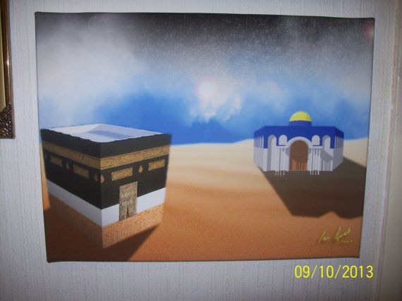 This Digital Painting depicts by the story of the Nigth Jouney of the Prophet Mohamed (PBUH) in which he is said to have tavelled from Mecca to Jerusalem and then up to the highest Heaven and back again in one night.The style of the peice is inspired by the art work of Salvador Dali.This Digital...