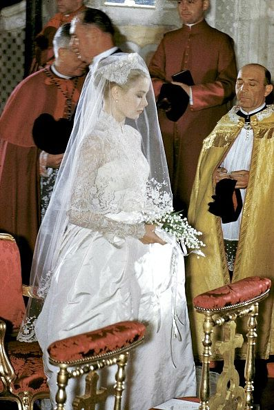 Princess Grace (wedding gown designed by Helen Rose) and Prince Rainier's marriage ceremony at Saint Nicholas Cathedral in Monaco, April 19, 1956 | Flickr - Photo Sharing!