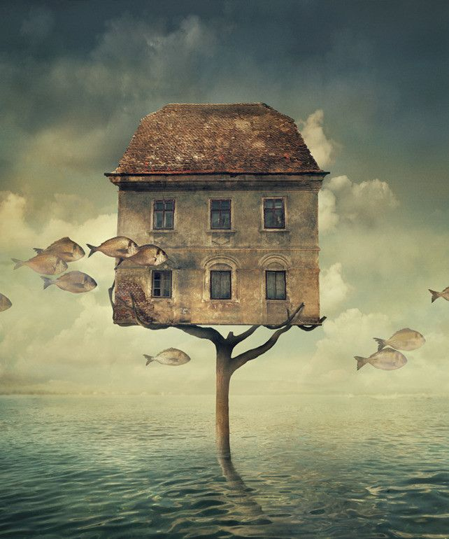 Artwork Type: Print Medium: Giclee Printing Pigment Inks on Museum Grade Fine Art Digital Archival Paper Artwork Description: Surreal photocomposite of a house above the sea.. About The Artist: Nikoli