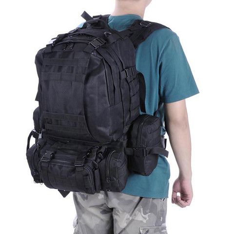 Outdoor Sports 55L Hiking Backpack Rucksack Camping Black