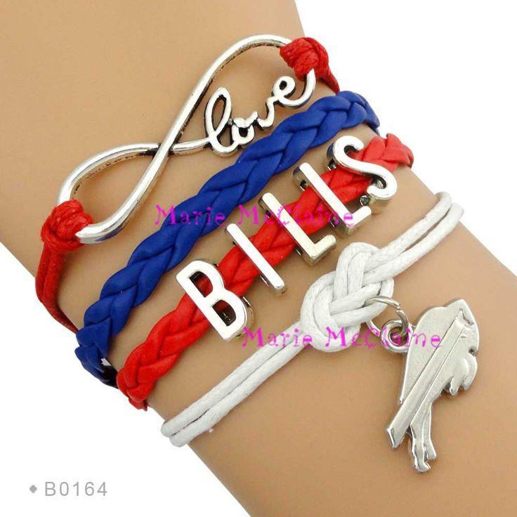 (10 Pieces/Lot) Infinity Love NFL Buffalo Bills Football Team Bracelet Royal Blue Red White Custom Sports Bracelet Drop Shipping