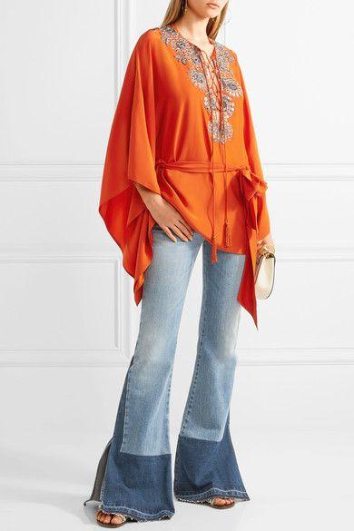 Roberto Cavalli - Embellished Silk-satin Blouse - Bright orange - IT42