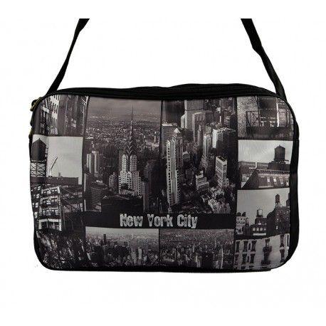 Flot sort og hvid taske med New York City tema - 3114