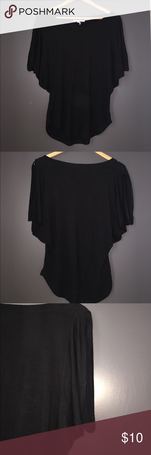 Cute, fun BCBG generation black top Like new! BCBGeneration top. Scoops at hem. Butterfly like sleeves Great for pairing with jeans and heels for a fun night out. Size small. BCBGeneration Tops