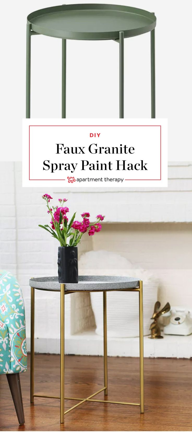 A $30 IKEA Table Gets a Glamorous Spray Paint Hack   Textured spray paints have come and gone over the years and for the most part, I've been happy to see them go. But I think I finally found one product that I'd like to have stick around for a while — Rust-Oleum's Stone Creations Spray. I used it to transform this cheap metal IKEA table into a granite and brass look-a-like.