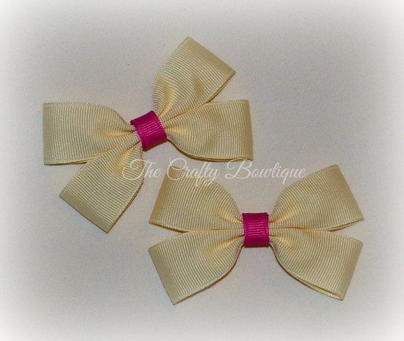 Ivory Cream Bow  Ivory Cream Clippies  by TandRCraftyBowtique