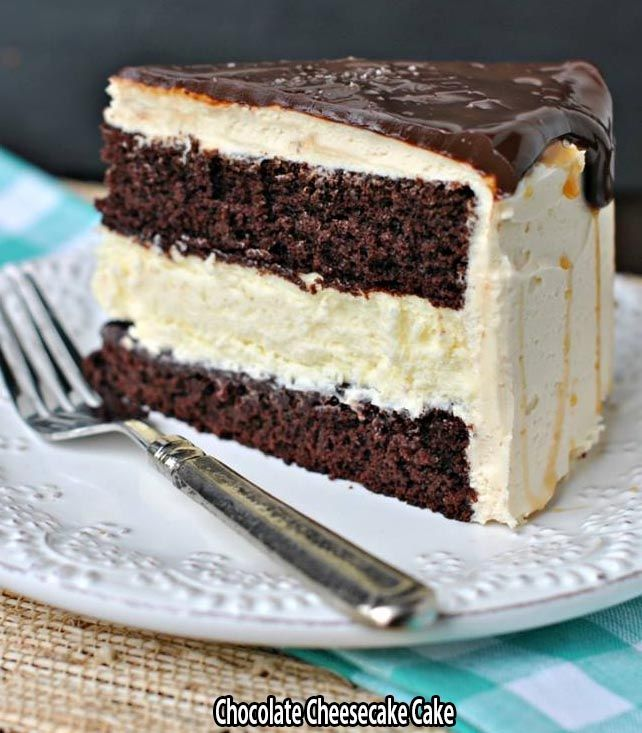 Ingredients :    FOR THE CHEESECAKE:    2 pkg (8oz each) cream cheese, softened  2/3 cup granulated sugar  pinch of salt  2 large eggs  1/3 cup sour cream  1/3 cup heavy cream  1 tsp vanilla  FOR THE CAKE:    1 recipe chocolate layer cake (9inch layers)- homemade or