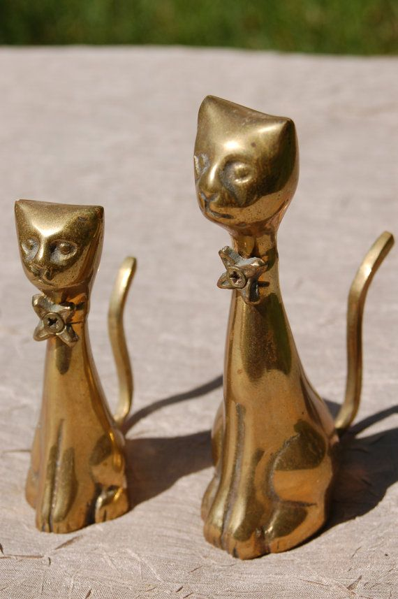 vintage brass cats  pair of mid century brass cat