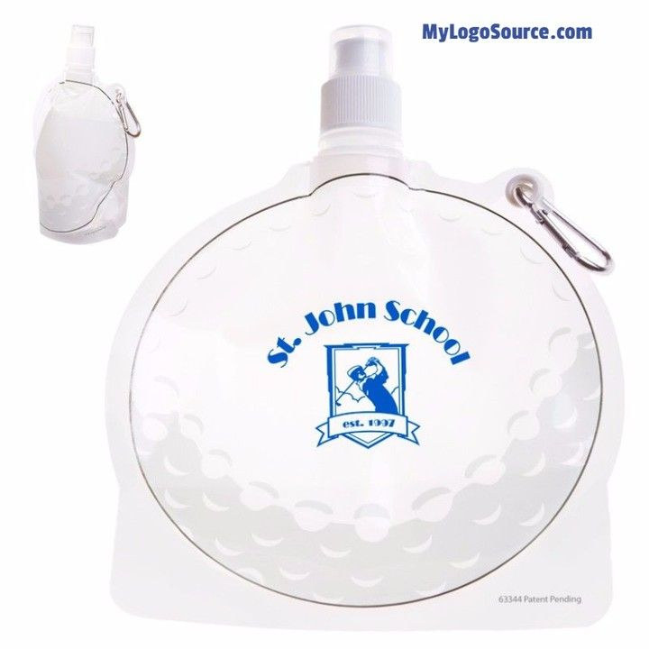HydroPouch! 24 Oz. Golf Ball Collapsible Water Bottle - golf ball-shaped water bottle made of light-weight easy-to-fold bendable plastic that means bottle can be collapsed flat & easily stored away in your golf bag when empty and stands like any other bottle when full. More Info: http://ift.tt/2iu1FP2  #golf #tournament #round #fore #divot #clubs #golfball #sports #outdoors #nature #golfer #golfcourse #birdie #par #gift #green #idea #giveaway #branding #marketing #logo #swag #promo #water…
