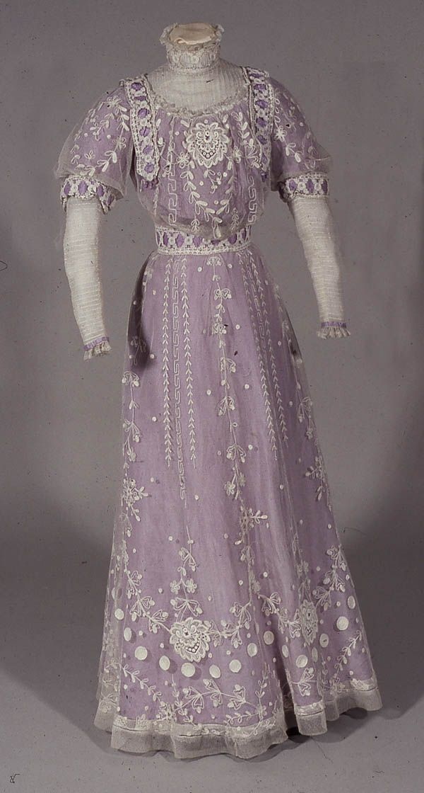 Tamboured net over lilac silk, trimmed with machine lace with sleeves and chemisette of tucked net, English, 1911.