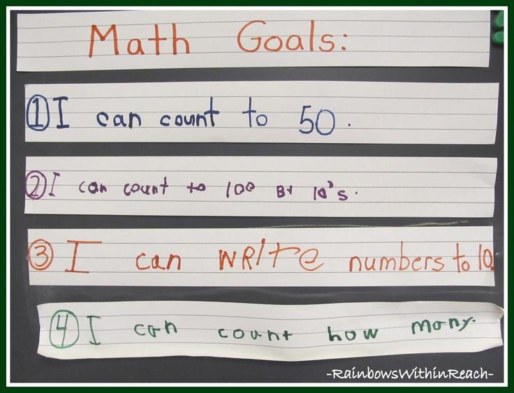 Kindergarten Math Goals (Handwritten by students)