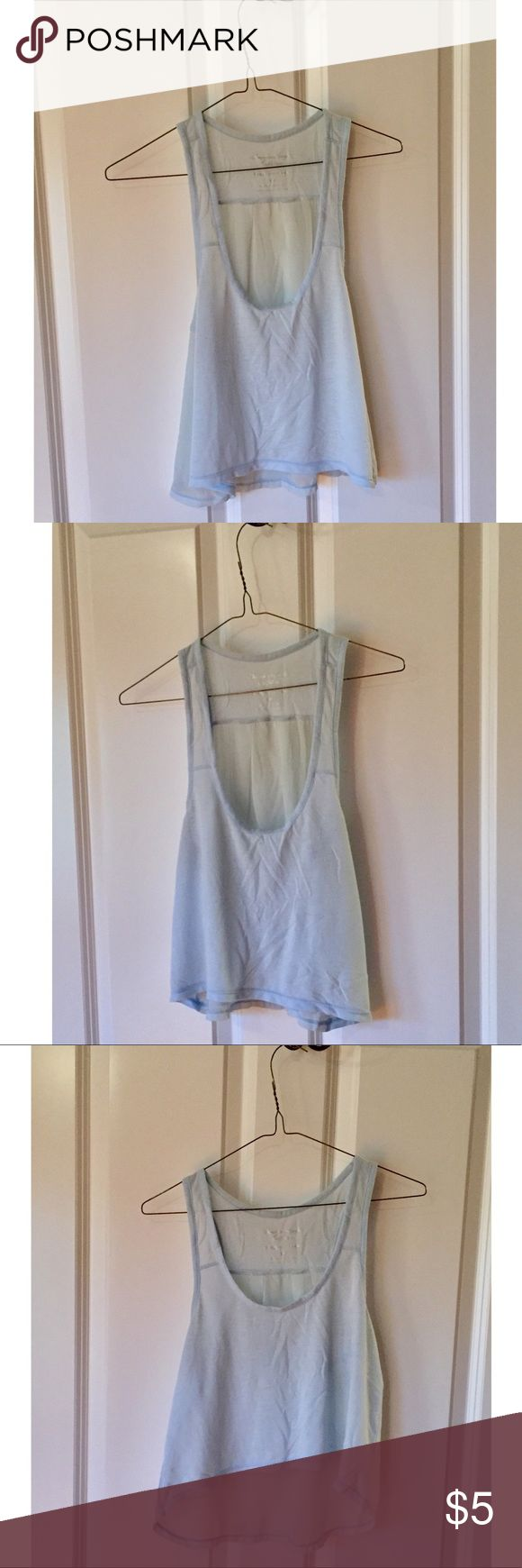 American Eagle Outfitters. Blue Happy Hour Tank American Eagle Outfitters. Light Blue Happy Hour Tank Top. Size: S/P. Material: Front: Soft Jersey cotton. Back: 100% RAYON. This top got its name for a reason—flirty and super cute with a baby doll feel! Sexy sheer back. Regardless of where you wear it—out on a Friday night or to an awesome concert—you're going to turn heads in this top and have lots of fun! Some of the best times and most cherished memories... 💙 American Eagle Outfitters…