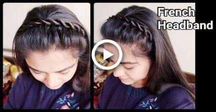 1 Min Corde Française Bandeau Coiffure pour école / collège / travail pour cheveux mi-longs - #college #french #hairstyle #headband #medium