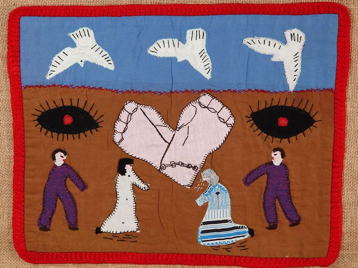 Chilean women wove these textiles during the oppressive Pinochet regime of the 1970s, with hieroglyphic-like patterns that detail the tortures and economic suffering.Photo: Victoria and Albert Museum, London