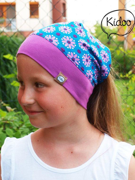 Girl headscarf toddler bandana Dot Flower Blue