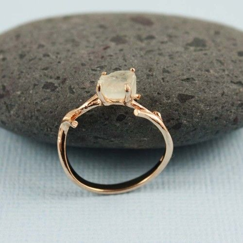 Pink Gold Rough Green Amethyst Ring | tooriginal - Jewelry on ArtFire | for our wooden anniversary?