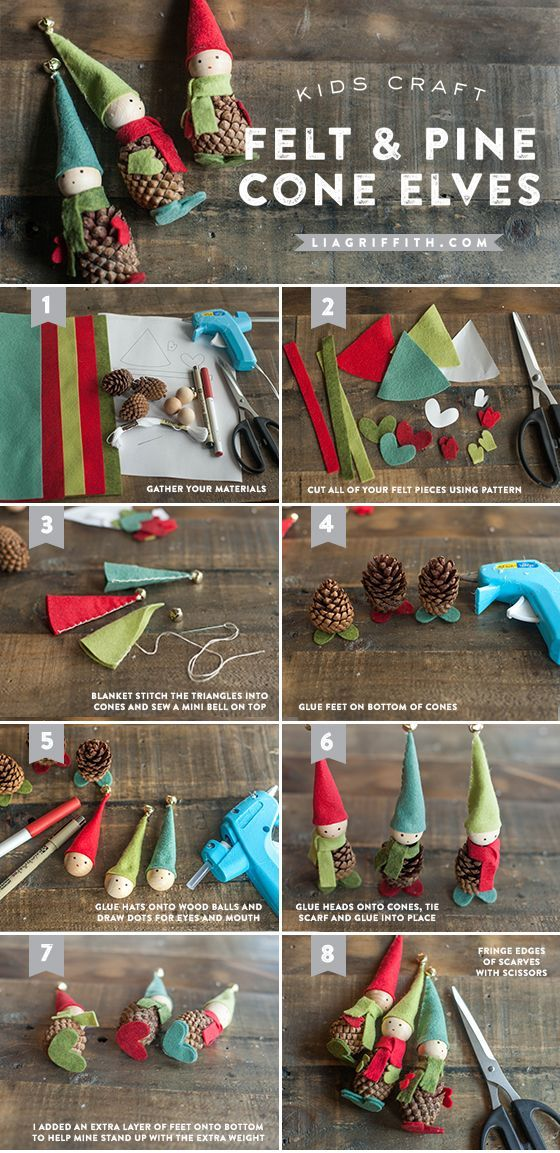 DIY Felt and Pine Cone Elves www.LiaGriffith.com #diychristmas #feltcrafts #kidscrafts #kidsdiy #christmascrafts