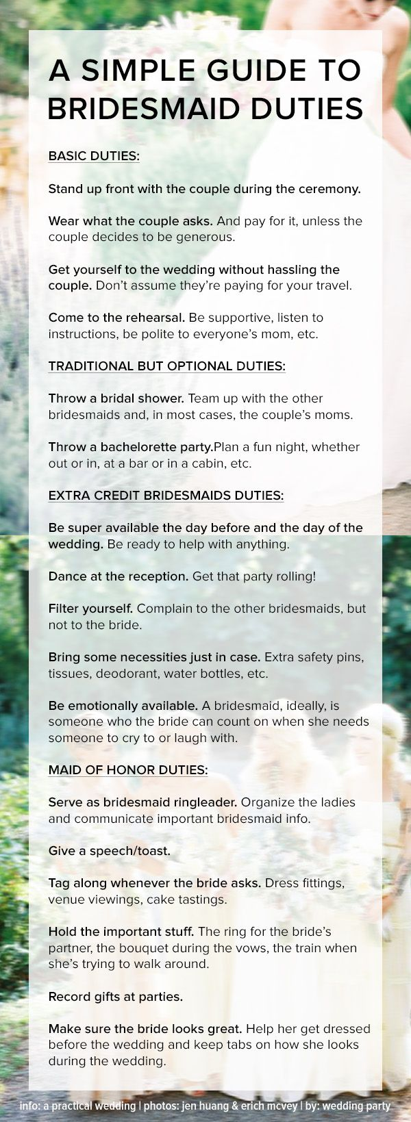 A simple guide to bridesmaids duties and etiquette. Tips for basic, MOH, and all-start bridesmaid responsibilities! Pin now, read later.