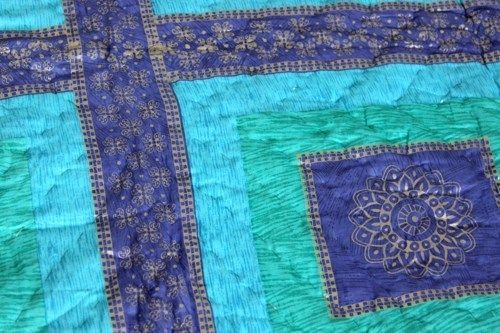 Twin Blue Handmade Quilt Green Comforter Quilted Gold Print Turquoise Bedspread #Handmade