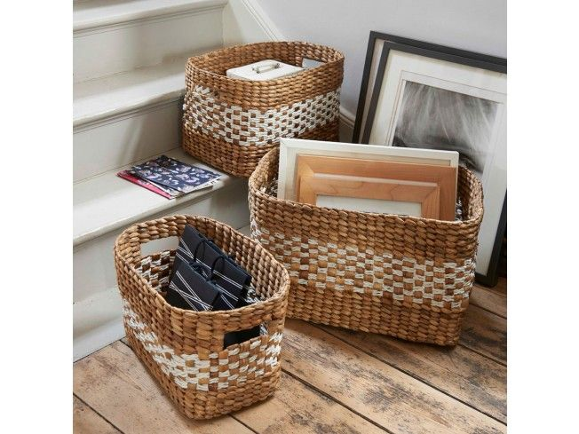 These gorgeous two tone #baskets come in three practical sizes. Perfect for magazines, newspapers, clothes and general odds and ends. #storage #livingroom