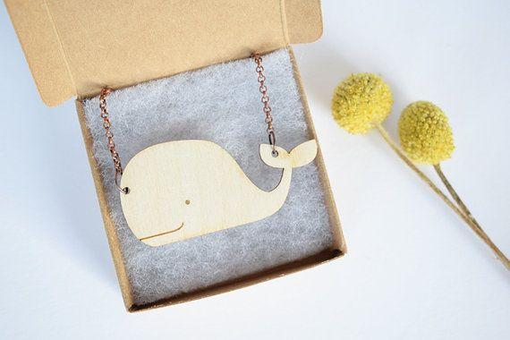 Walvis ketting uit hout, dieren ketting, houten ketting, walvis sieraden, laser cut sieraden, kettingen, kinder ketting, voor haar, cadeau