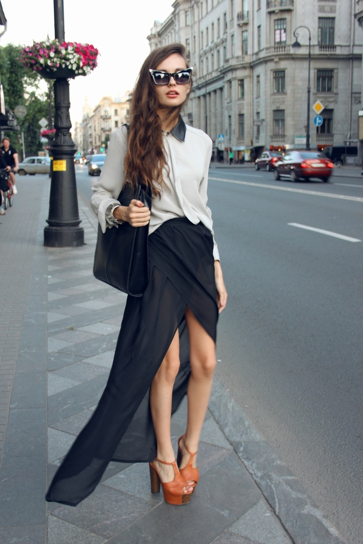 ++: Shoes, Cat Eye, High Low Skirts, Street Style, Dresses, Outfit, Hi Low Skirts, Streetstyl, Maxi Skirts
