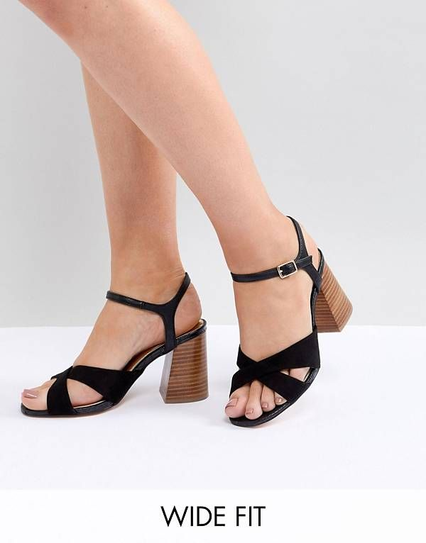 6f6f0e00a1e8 River Island Wide Fit Cross Front Heeled Sandals