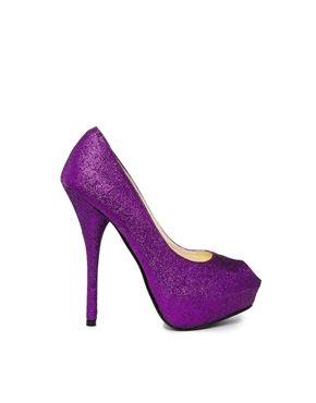 Sugarfree Malina Purple Glitter Platform Court Shoes