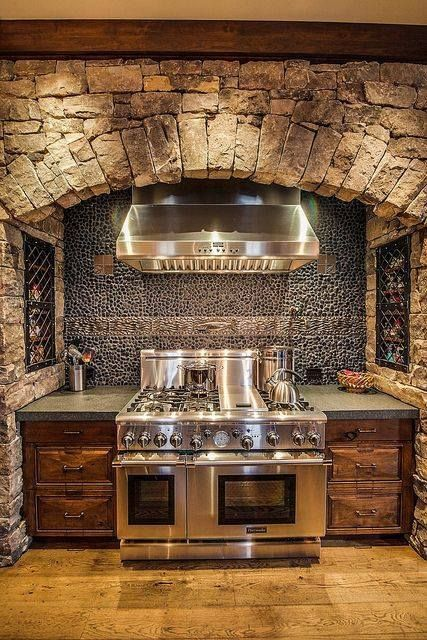 Imagine the wonderful meals we'd create if our stove area looked like this... Rustic Kitchen Lust