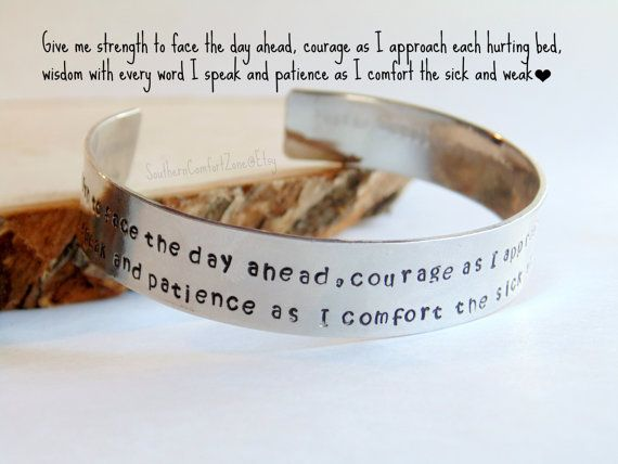 Nurse Personalized Bracelet Prayer Hand by SouthernComfortZone, $21.00 Nurse Personalized Bracelet Prayer - Hand stamped RN STNA Medic LPN Paramedic Doctor Registered Nurse Jewelry Graduation Gift for Her