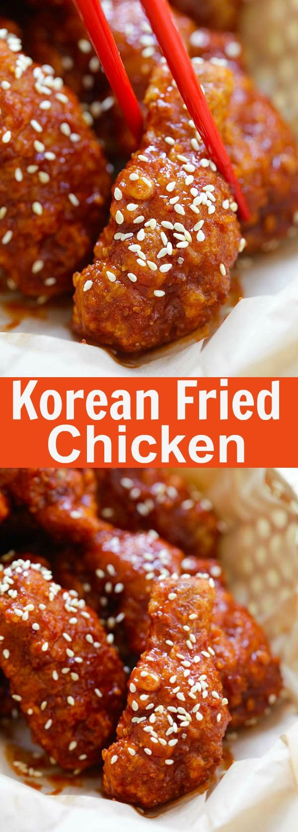 Korean Fried Chicken – the BEST Korean fried chicken recipe that yields crispy fried chicken in spicy, savory and sweet sauce. Finger lickin' good | rasamalaysia.com