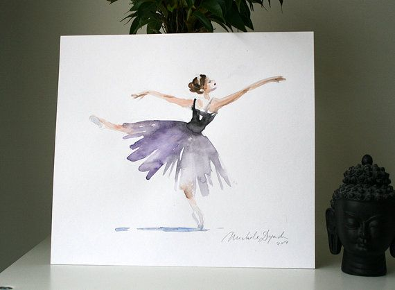 Original Ballet dancer Watercolor Painting by Zendrawing on Etsy